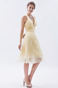 Champagne / Princess Halter Knee-length Organza Ruch Dama Dresses for Sweet 16