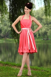 Coral Red Empire Halter Knee-length Taffeta Sashes Dama Dresses for Sweet 16