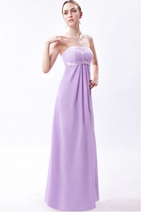 Empire Strapless Floor-length Chiffon Embroidery Dama Dresses for Sweet 16