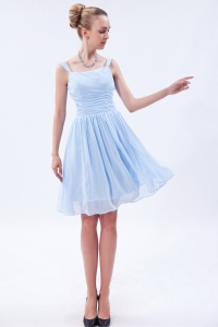 Empire Straps Knee-length Chiffon Ruch Dama Dresses for Sweet 16 Quinceanera