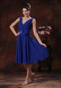 Royal Blue V-neck Bridesmaid dresses With Flowers and Ruch Dama Dress