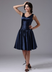 V-neck Empire and Ruch For Navy Blue Dama Dresses for Sweet 16 Quinceanera