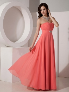 Watermelon Empire Strapless Floor-length Chiffon Beading Sweet 16 Dama Dresses