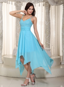 Baby Blue Empire Straps Asymmetrical Chiffon Ruch Dama Dresses for Sweet 16