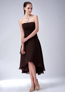 Brown / Princess Strapless High-low Chiffon Ruch Dama Dress