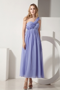 Lilac One Shoulder Ankle-length Chiffon Hand Made Flowers Dama Dresses for Sweet 16