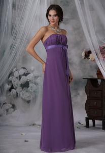 Ruched and Bowknot Decorate Bust Purple Chiffon Floor-length Strapless For 2013 Sweet 16 Dama Dresses