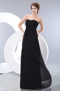 Black Empire Sweetheart Floor-length Chiffon Ruch Dama Dresses for Sweet 16