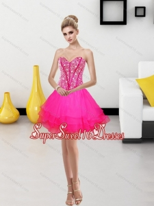 2015 Exclusive A Line Sweetheart Dama Dress with Beading
