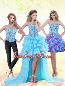 Aqua Blue High Low 2015 Dama Dress with Beading and Ruffles