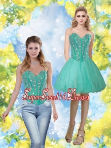 Exclusive 2015 Beading and Appliques Sweetheart Dama Dress in Turquoise