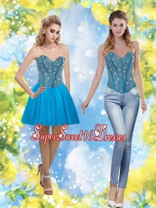 Exclusive 2015 Sweetheart Short Dama Dress with Beading