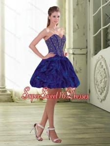 Exquisite Beading and Ruffles Mini Length Quinceanera Dama Dress for 2015
