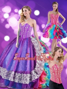 2015 Fashionable Beading and Ruffles Sweetheart 15th Birthday Party Dresses in Multi Color