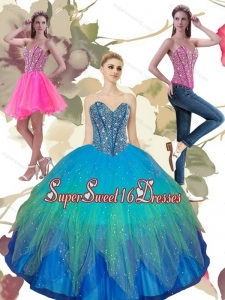 2015 Pretty Beading Sweetheart Tulle 15th Birthday Party Dresses in Turquoise