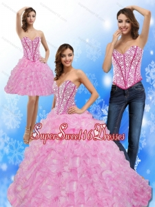 Luxurious Beading and Ruffles Sweetheart 15th Birthday Party Dresses