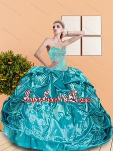 2015 Modest Sweetheart Teal Sweet Sixteen Dresses with Beading and Pick Ups