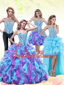 2015 New Style Beading and Ruffles Sweetheart Sweet 16 Dresses in Multi Color