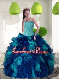 2015 New Style Multi Color Sweet Sixteen Dresses with Beading and Ruffles