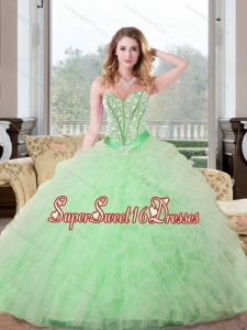 Modest Beading and Ruffles Sweet Sixteen Dresses in Apple Green