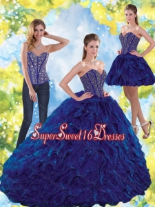 Modest Beading and Ruffles Sweetheart Ball Gown Sweet Sixteen Dresses for 2015