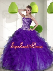 New Style Beading and Ruffles Sweetheart 2015 Military Ball Dresses in Purple