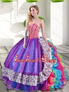 New Style Sweetheart Beading and Ruffles 2015 Sweet 16 Dresses in Multi Color