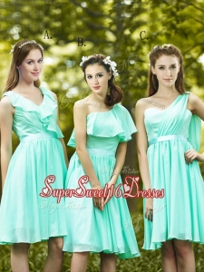 2016 Lovely Belted and Ruched Short Dama Dress in Apple Green