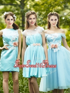 2016 Most Popular Light Blue Dama Dress with Appliques for Spring