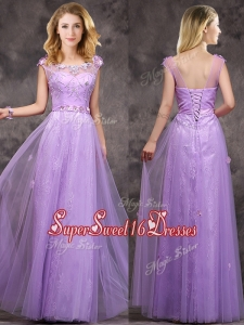 2016 New Arrivals Beaded and Applique Long Dama Dress in Lavender