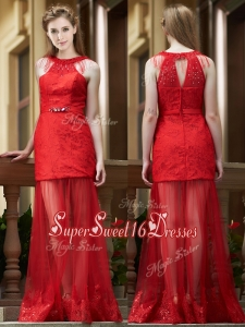 Cheap Belted Red Long Dama Dress in Tulle and Lace