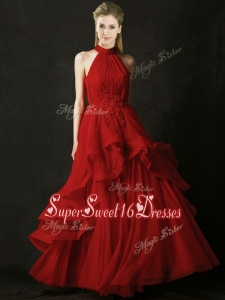 Modest A Line Halter Top Tulle Dama Dress with Appliques