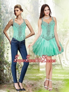 Detachable Beading and Ruffles Apple Green Quinceanera Dama Dresses