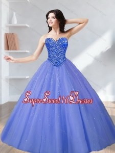 2015 Discount Beading Sweetheart Tulle Quinceanera Dresses in Lavender