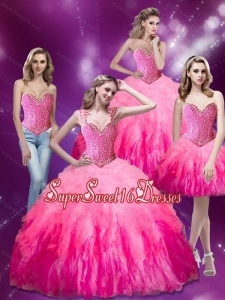 2015 Luxurious Beading and Ruffles Organza Quinceanera Dresses in Multi Color