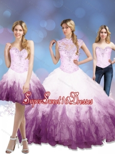 Exclusive 2015 Multi Color Quinceanera Dresses with Beading and Ruffles
