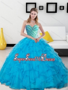 Modest 2015 Baby Blue Beading and Ruffles Sweetheart Quinceanera Dresses