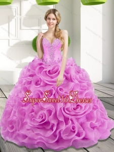2015 Elegant Beading and Rolling Flowers Lilac 15th Birthday Party Dresses