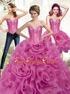 Exclusive Fuchsia 15th Birthday Party Dresses with Beading and Rolling Flowers
