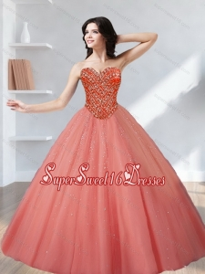 Inexpensive 2015 Tulle Beading Sweetheart 15th Birthday Party Dresses in Watermelon
