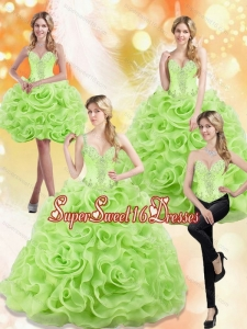 Modest Spring Green 2015 15th Birthday Party Dresses with Beading and Rolling Flowers