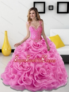 2015 New Style Beading and Rolling Flowers Rose Pink Sweet 16 Dresses