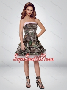 2015 Perfect Short Strapless Camo Quinceanera Dama Dresses with Ruching