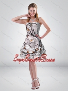 2015 Short Strapless Mini length Camo Quinceanera Dama Dresses with Ruching