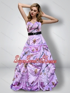 Romantic Sweetheart Camo Quinceanera Dama Dresses with Sash for 2015