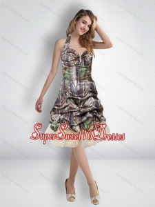 Sexy 2015 Short Halter Top Camo Quinceanera Dama Dresses with Knee Length