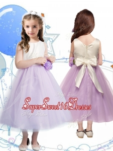 Wonderful Scoop Little Girl Pageant Dress with Hand Made Flowers and Bowknot