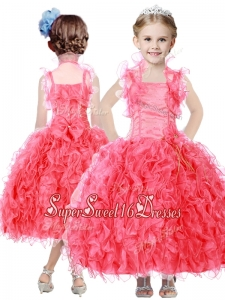 Beautiful Beaded and Ruffled Straps Little Girl Pageant Dress in Coral Red