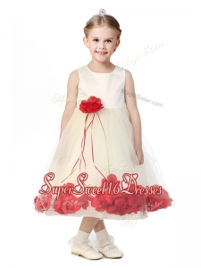 Best ScoopGirls Pageant Dresses with Red Hand Made Flowers