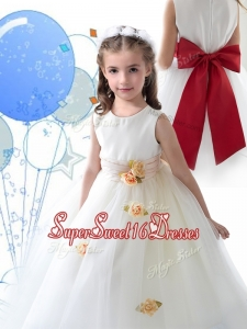 Luxurious Scoop White Girls Pageant Dresses with Sashes and Hand Made Flowers